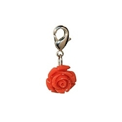 Coral Rose Bloom Dangle (Lobster Claw Clip) For Lockets