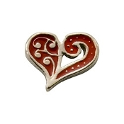 Artistic Scrolls Heart Charm for Lockets