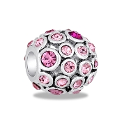 Pink Ornate Crystal Orb Bead by DaVinci