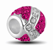 Fuschia and Silver Decorative Crystal Bead by DaVinci®