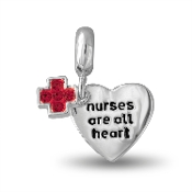 NURSES ARE ALL HEART Heart Dangle Bead by DaVinci®