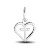 Cross In Heart Dangle Bead for DaVinci Inspirations® Jewelry