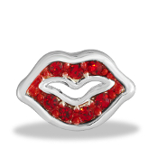 Red Lips Crystal Charm for Floating Keepsake Lockets