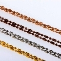 "Bamboo Chains 17""/2"" Ext (4 Tones)-Stainless Steel - For Lockets"