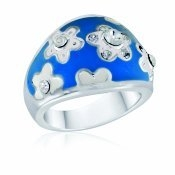 Blue Flower Ring with Crystals