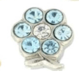 Light Blue Crystal Flower Charm For Lockets