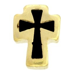 Cross Black and Gold Charm For Lockets
