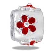 Red Raised Daisy Bead