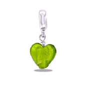 Chartruse Foil Heart Dangle TRUNK SALE NO FURTHER DISCOUNTS