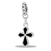Black Cross Enamel Bead