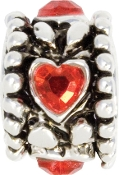 Red Heart and Silver Plate Bead by Amanda Blu