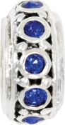 Blue Crystal Silver Plated Wheel Bead by Amanda Blu