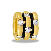 Gold Scroll CZ Bead by DaVinci - TRUNK SALE - No Further Discoun
