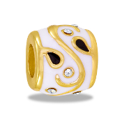 Gold and White Vine Bead - TRUNK SALE - No Further Discounts