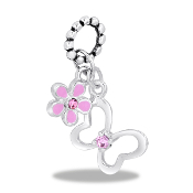 Butterfly and Flower CZ Bead by DaVinci