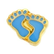 Blue Child's Feet Charm For Lockets