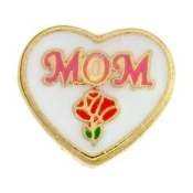 MOM With Flower Heart Charm For Lockets
