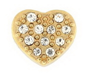 Gold Crystal Heart Charm For Lockets