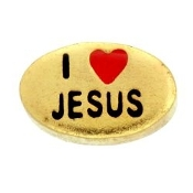 I LOVE JESUS (Gold) Charm For Lockets