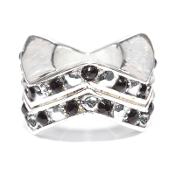 "Jet Black Chevron ""Stackable"" Czech Crystal & Silver Bead"