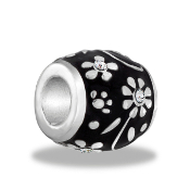 Black and Silver Flower Bead by DaVinci