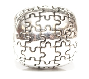 Round Puzzle Design Silver Bead By Amanda Blu®