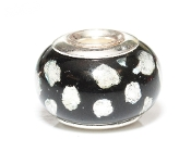 Silver Leaf Polka Dot Prima Glass Bead by Amanda Blu®