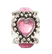Pink Crystal Heart Silver Plate Bead by Amanda Blu®
