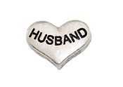 HUSBAND Silver Heart Charm For Lockets