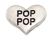 POP POP Silver Heart Charm For Lockets