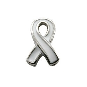 Lung Cancer Ribbon Charm for Lockets
