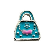 Blue Purse with Pink Bow Charm For Lockets