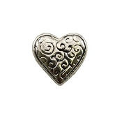 Scrolled Silver Heart Charm for Lockets