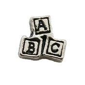 Silver ABC Blocks Charm for Lockets