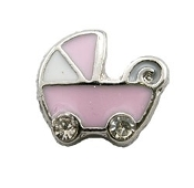 Pink Baby Carriage Charm for Lockets