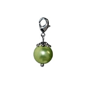 Green Pearl Dangle (Lobster Claw Clip) For Lockets and Bracelets
