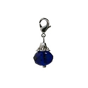 Blue Crystal Dangle (Lobster Claw Clip) For Lockets