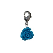 Blue Rose Bloom Dangle (Lobster Claw Clip) For Lockets