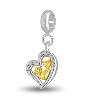 Golden Cat In CZ Heart Bead by DaVinci®