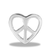 Heart with Peace Symbol Large Charm for Keepsake Lockets