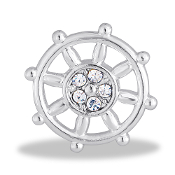 Ship's Wheel Crystal Large Charm for Keepsake Lockets