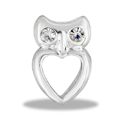 Owl on Heart Crystal Large Charm for Keepsake Lockets