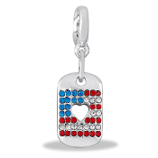 Patriotic Dog Tag Drop Accessory by Forever In My Heart® Lockets
