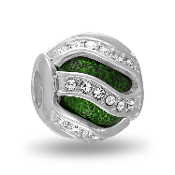 Green Swirl Crystal Decorative Bead For The DaVinci Collection