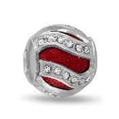 Red Swirl Crystal Decorative Bead For The DaVinci Collection