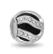 Black Swirl Decorative Crystal DaVinci Bead