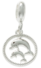 Dolphin Pair Filigree Dangle Bead For The DaVinci Collection