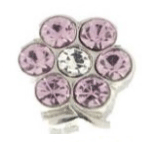 Lilac Crystal Flower Charm For Lockets